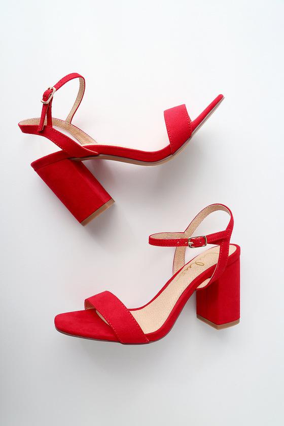 Cute Block Heel Sandals - Red Suede High Heel Sanda