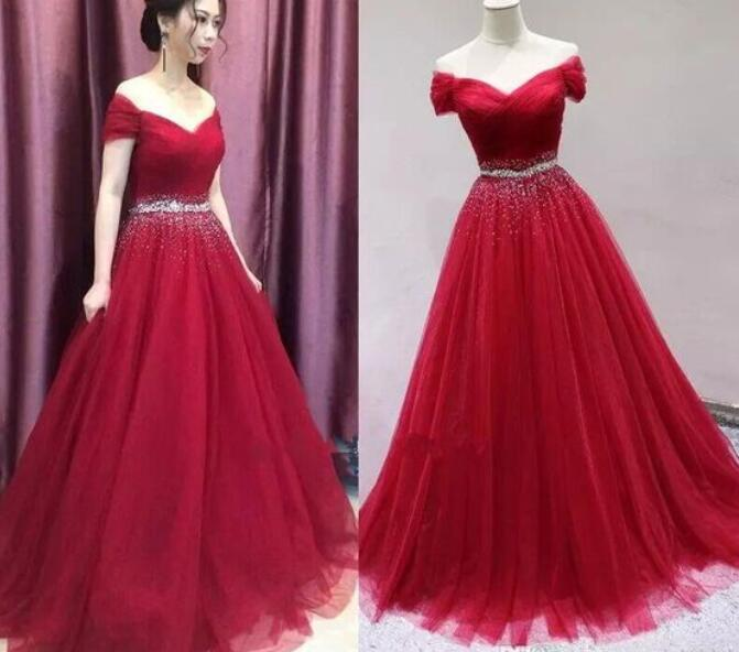 Red Tulle Sequins Off Shoulder Prom Dresses 2018, Red Party .