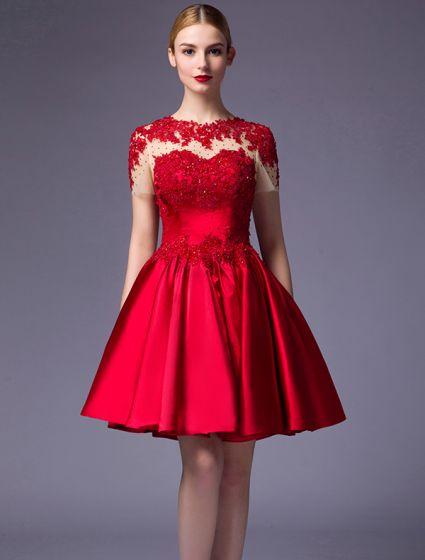 Beautiful Party Dresses 2016 Scoop Neck Applique Lace Beading .