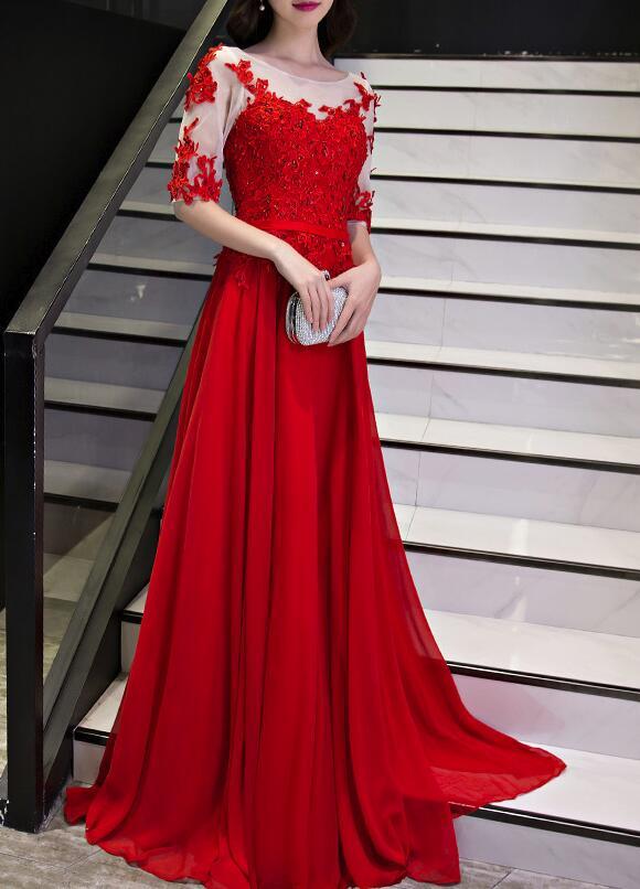 Beautiful Red Chiffon Short Sleeves Prom Dress 2018, Long Formal .