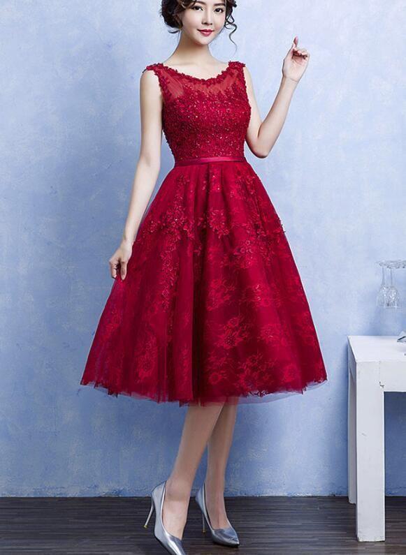 Pretty Handmade Knee Length Dark Red Lace Junior Party Dress .