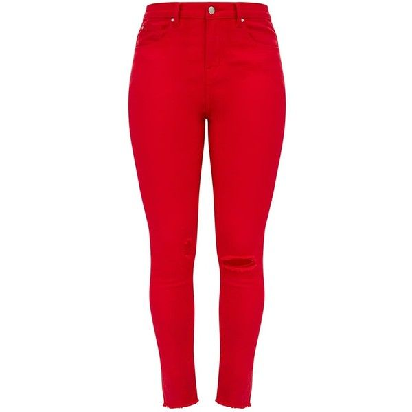 Red Rip Knee Skinny Jean ($38) ❤ liked on Polyvore featuring .