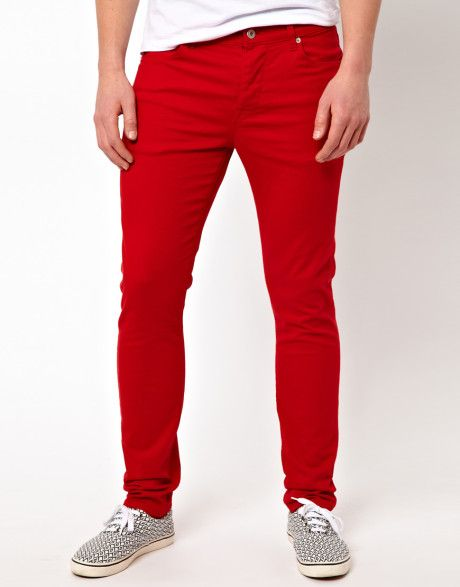 Asos Skinny Jeans | Mens fashion jeans, Red skinny jeans, Skinny .
