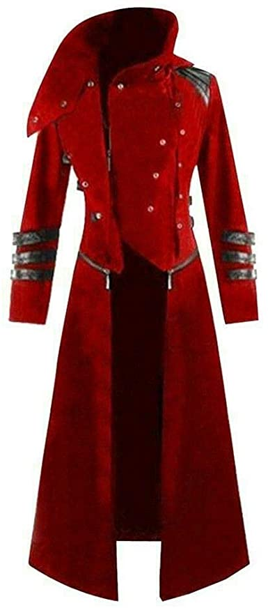 Amazon.com: Scorpion Men's Hooded Trench Coat Long Jacket Red .