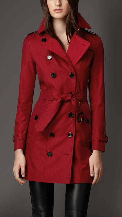 Burberry Gabardine Trench Coat With Check Cashmere Undercollar .