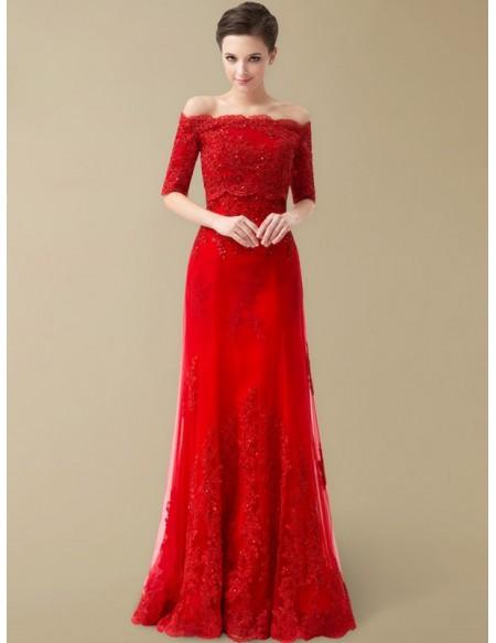 Best Off the Shoulder Lace Half Sleeve Long Red Wedding Dress .