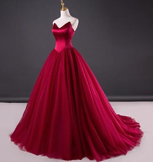Simple Red Wedding Dress,Tulle Bridal Dress,Mermaid Wedding .