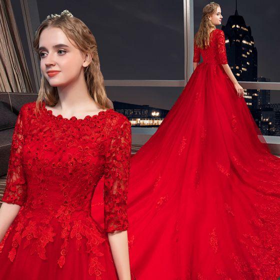 Modern / Fashion Red Wedding Dresses 2018 A-Line / Princess .