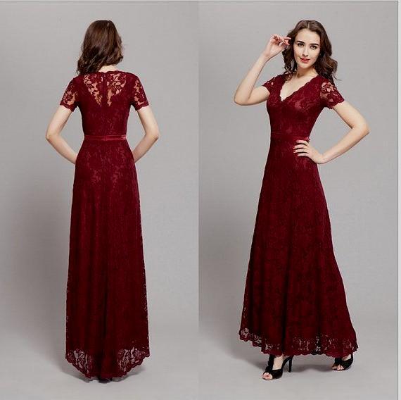 Dark red wedding guest dress - Wedding Port