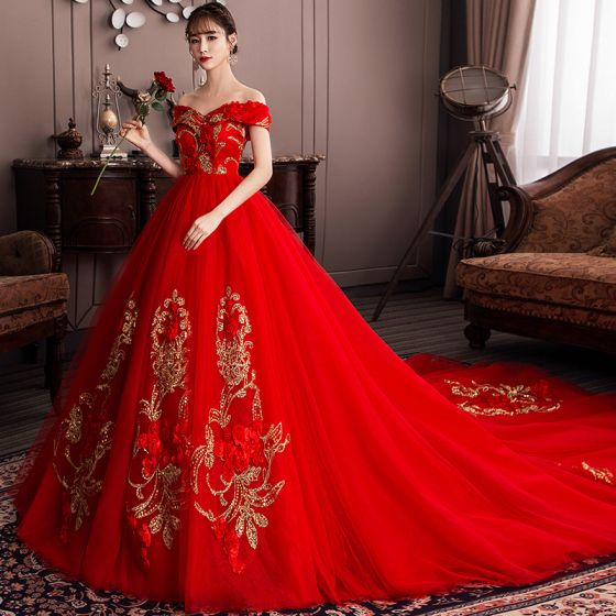 Chic / Beautiful Red Wedding Dresses 2019 A-Line / Princess Off .