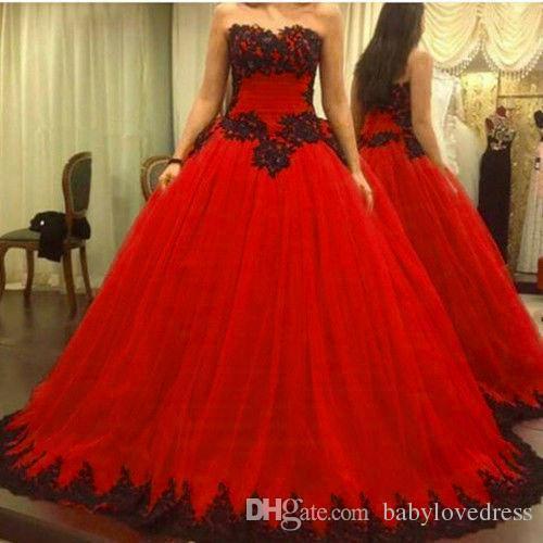Arabic Red Wedding Dresses Robe De Mariage Plus Size Sexy Black .