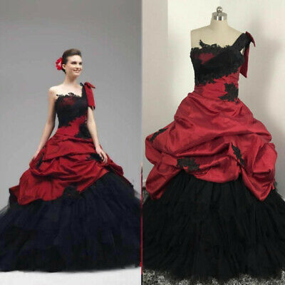 Gothic Red And Black Wedding Dresses Puffy One Shoulder Spanish .