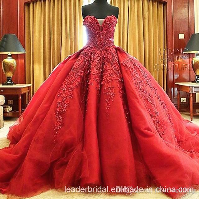 China Vestidos De Noiva Red Bridal Ball Gowns Strapless Organza .