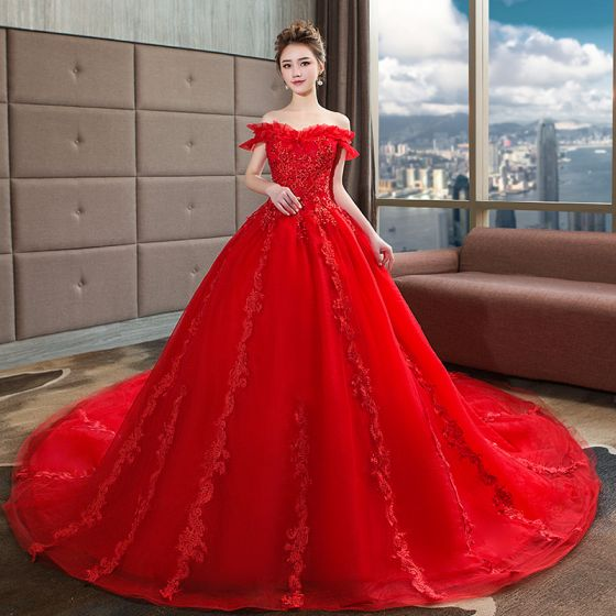 Modern / Fashion Red Wedding Dresses 2018 Ball Gown Beading .