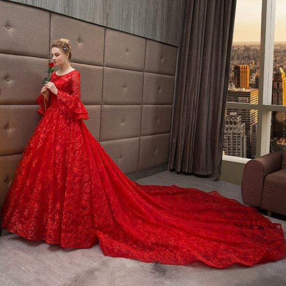 Chic / Beautiful Red Wedding Dresses 2018 Ball Gown Star Scoop .