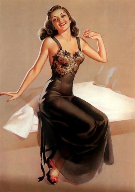 Lace Lingerie Pin Up Girl Art Propaganda Retro Vintage Kraft .