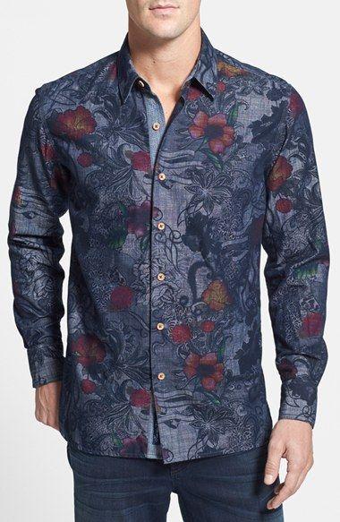 Robert Graham 'Lake Wanaka' Tailored Fit Floral Print Sport Shirt .