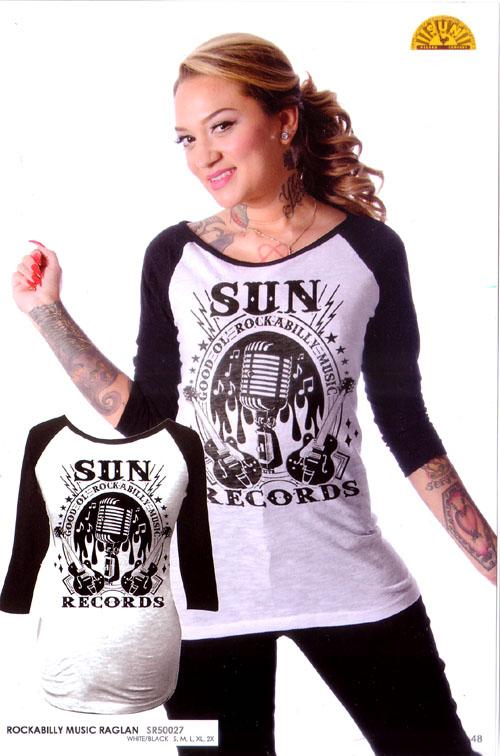 Sun Records- Rockabilly Music Girls Fitted Raglan Shirt by Steady .