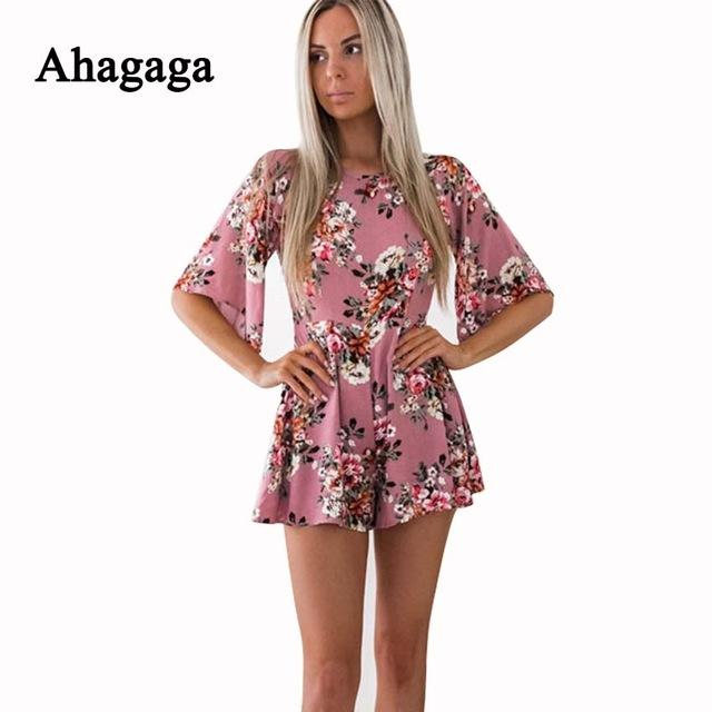 Summer Rompers Women Jumpsuits Floral Print Loose Playsuits .