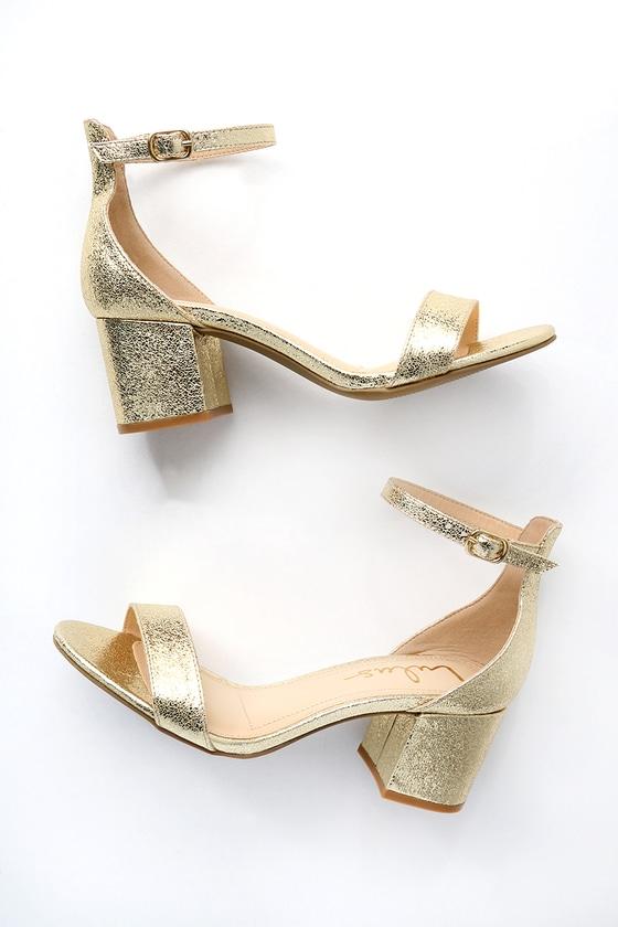 Chic Gold Sandals - Single Sole Heels - Block Heel Sanda