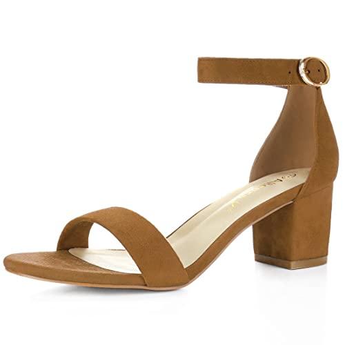 Brown Block Heel Sandals: Amazon.c