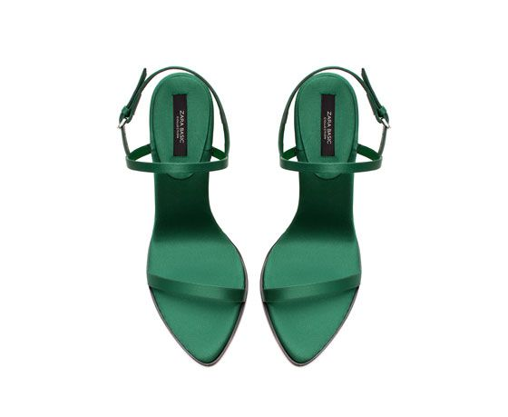 Emerald green SATIN HIGH HEEL SANDAL from Zara   Sandals heels .