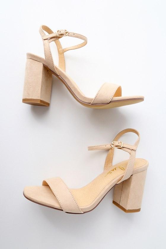Cute Chunky Heel Sandals - Nude Suede High Heel Sanda