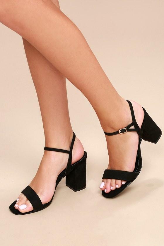 Cute Chunky Heel Sandals - Black Suede High Heel Sanda
