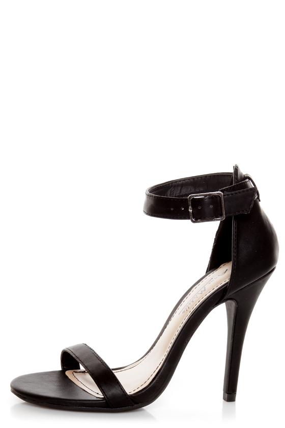 Anne Michelle Enzo 01N Black Ankle Strap Sandal Heels - $26.