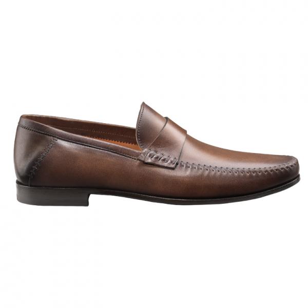 Santoni Shoes Paine Strap Loafers Brown | MensDesignerShoe.c