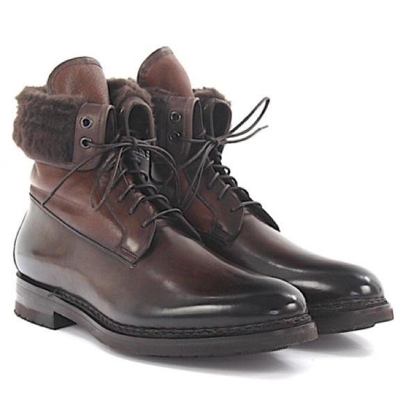 Santoni Shoes | Italian Leather Polishes Lambskin Boots | Poshma