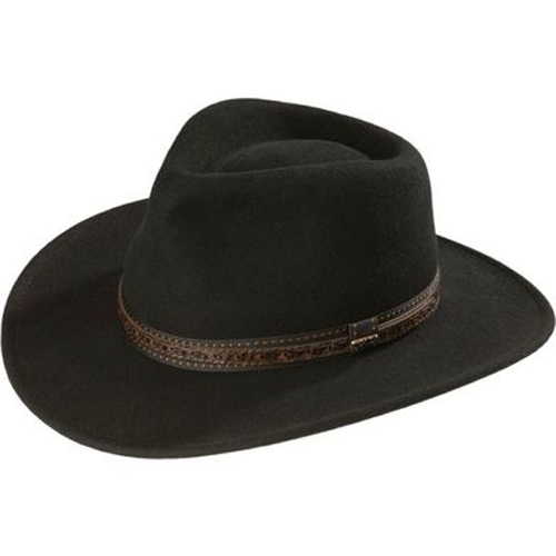 Scala Crushable Wool Outback Hat - Black - Cowboy Hats | Spur .
