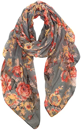GERINLY Fashion Scarfs for Women Lightweight Flowers Print Long .