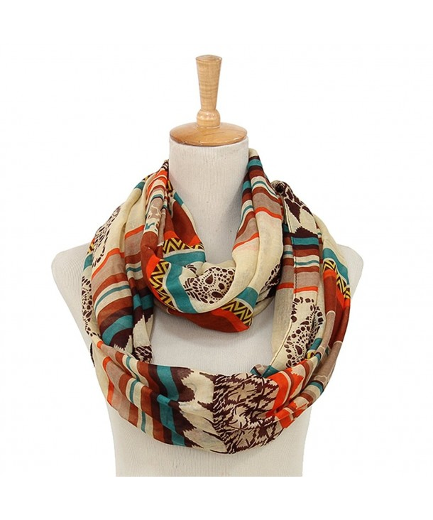 Sheer Lightweight Bohemian Style Infinity Scarves for Women White .