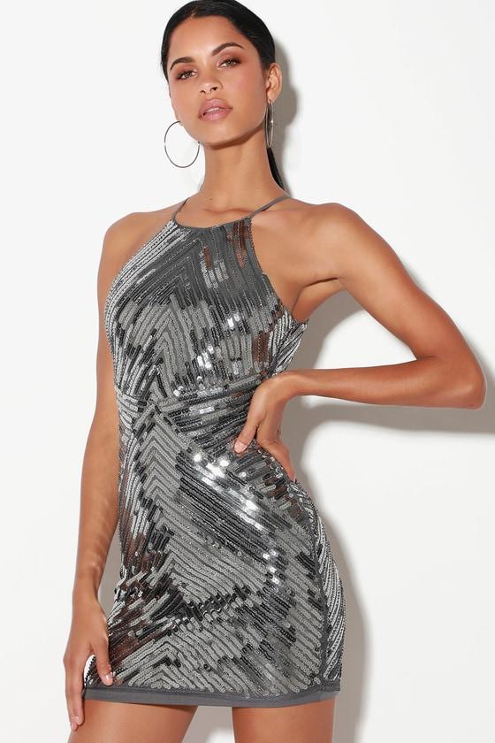 Chic Gunmetal Dress - Sequin Dress - Party Dress - Bodycon Dre