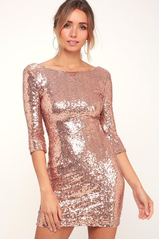 Rose Gold Sequin Dress - Cocktail Dress - Homecoming Dre