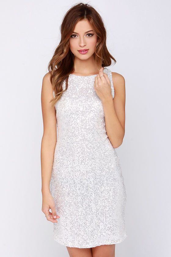 Glamorous Magic Crystal White Sequin Dress | White sequin dress .