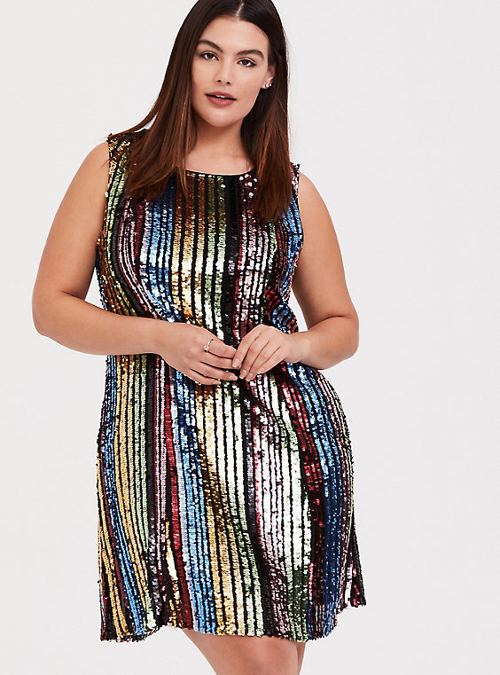 Plus Size - Rainbow Stripe Sequin Trapeze Dress - Torr