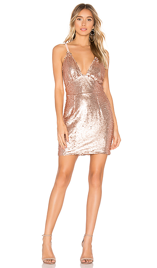 About Us Bethany Sequin Dress in Rosegold | REVOL
