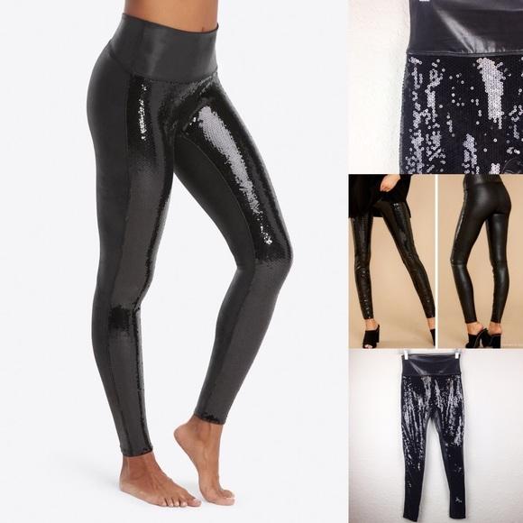 SPANX Pants | Black Sequin High Rise Sequin Leggings | Poshma