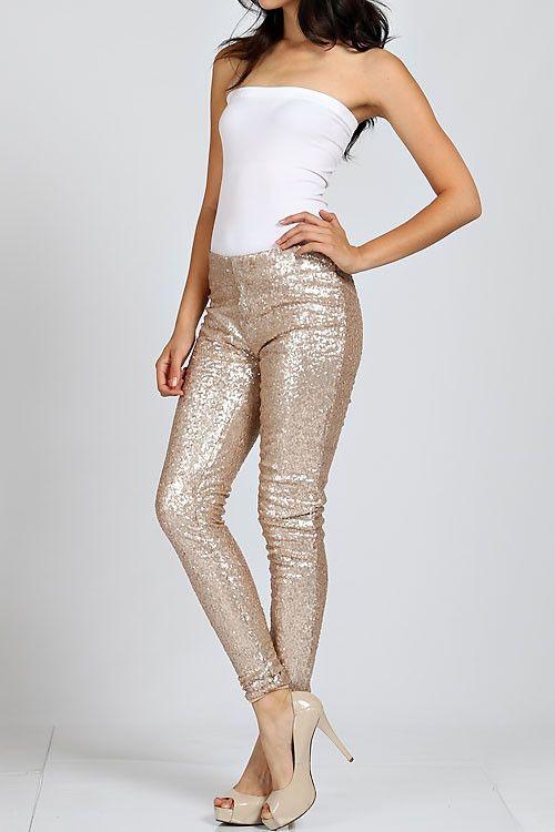 Gold Sequin Leggings – Tara Lynn's (With images) | Sequin leggings .