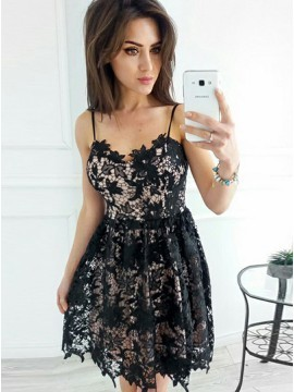 Spaghetti Square Lace Black Short Formal Dress, | PrettyLa