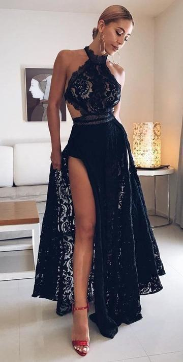 Sexy Black High Slit Lace Halter Evening Party by prom dress on Zibb