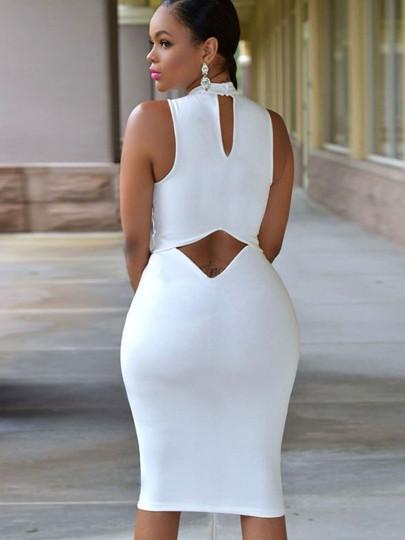 chyna sexy Plus Size white Bodycon Dress cutout Turtle Neck Open .