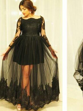 Sexy Plus Size Prom Dresses Black Tulle Bateau Appliques Prom .