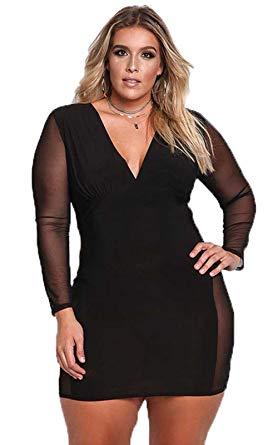 Sexy Plus Size Dress V Neck Mesh Long Sleeves Autumn Women Bodycon .