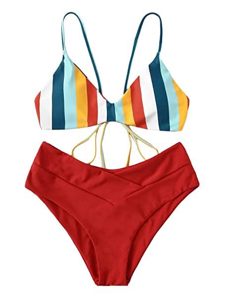 Amazon.com: SweatyRocks Women's Sexy Bathing Suit Striped Criss .