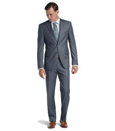 Traveler Collection Traditional Fit Sharkskin Suit - Traveler .