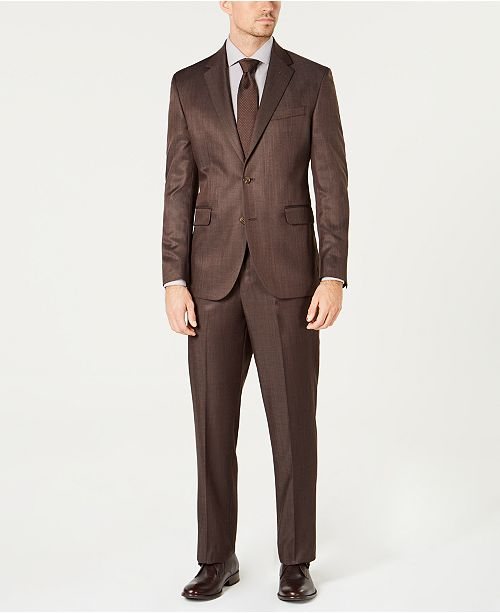 Dockers Men's Modern-Fit Stretch Brown Sharkskin Suit & Reviews .