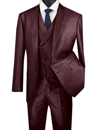 Men's Tailored Fit Burgundy Sharkskin Suit with Slant Vest Vinci .